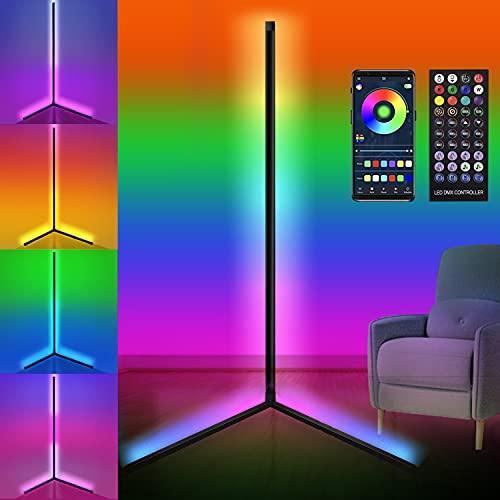 LED Stehlampe Dimmbar Standleuchte RGB Ecklampe mit Fernbedienung APP Steuerung Musik Sync Farbwechsel Lichtsaeule RGB Stehleuchte Leselicht für Wohnzimmer Schlafzimmer 156cm, 20W Schwarz