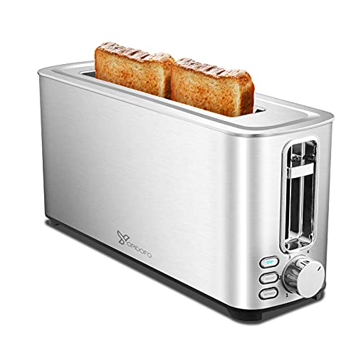 YOPIDOFO Toaster 2 Slice, 1.5 Inches Wide Slot Toaster with Bagel, Defrost, Cancel Functions, 6 Shade Settings, Removable Crumb Tray for Bread Muffins