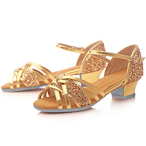 Chaussures de Danse Latine Femme,Honestyi Sandales de Tango Elastique à Talons Bas Sandales Bout Ouvert Femme Chaussures Pratique Tongs Fonction Shoes Compensées