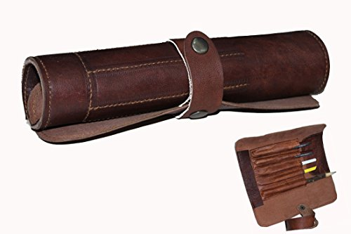 Gbag (T) Genuine Leather Stationery Rollup Style Leather Vintage Pencil Case and Holder