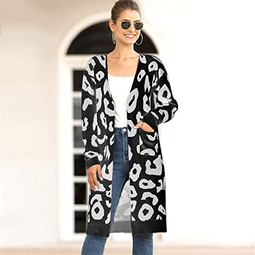 Women's V-Neck Long Cardigan Long Sleeve Camouflage Leopard Print Pattern Loose Knit Fashion Sexy Sweater Ladies Basic Shirt (Color : F, Size : Small)