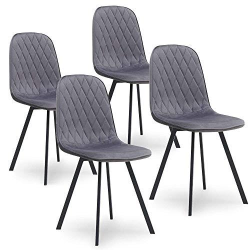 Mobilier Deco - Set di 4 sedie in tessuto, colore: grigio velluto Livio