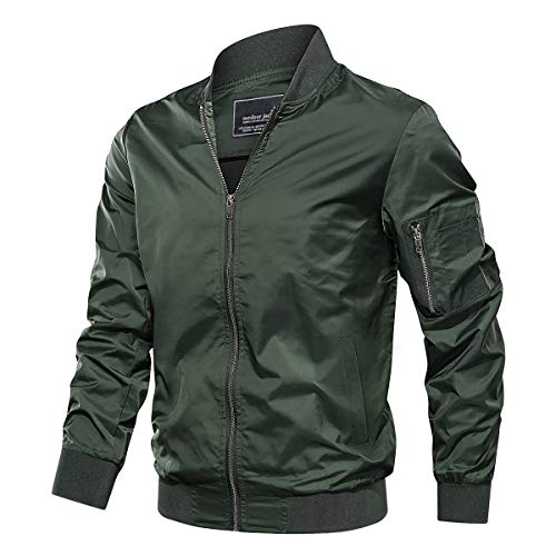 TACVASEN Men's Jacket-Lightweight Thin Sportwear Varsity Softshell, Green L