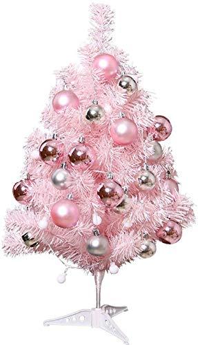 HIGHKAS Albero Natale Tavolo, Alberi Natale con luci Chiare Ornamenti e Metallo Bianco Rosa Antico