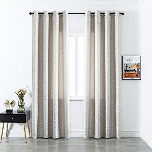 GIRASOLE Par de cortinas opacas con diseño de ondas efecto metalizado, cortina aislante para salón, dormitorio, oficina, balcón, puerta y ventana, 2 paneles con ojales (gris, 140 x 280 cm)