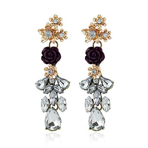 Joyas de aleación Flores europeas y americanas Pendientes de diamantes Flores de moda Pendientes de flores grandes de moda