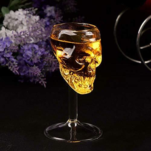 XiZiMi Decora y embellece tu fiesta Cerveza transparente de Halloween Copa de vino Botella Vaso de calavera de vidrio Vino tinto Sobrio Vasos de vidrio con forma de calavera Transparent