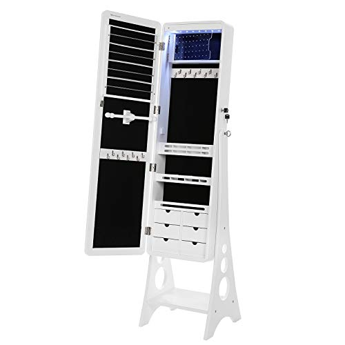 SONGMICS Jewelry Cabinet with LED Lights and Mirror, Lockable Standing Armoire Organizer, 15 x 15.7 x 61.4 Inches, white