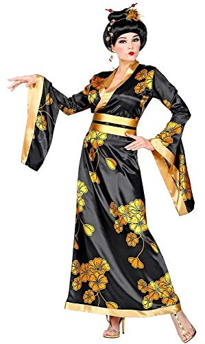 Das Kostümland Geisha Japanerin Kostüm für Damen - Kimono Schwarz Gold Gr. S