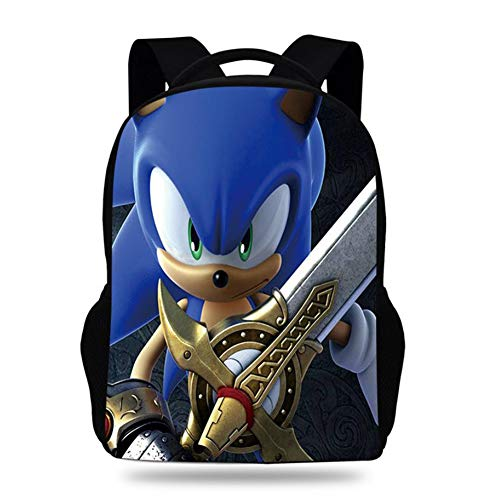 Sonic The Hedgehog 3D Lightweight Laptop Backpack with USB Charging Port - Durable Foldable Outdoor Travel Daypack for Men & Women,1