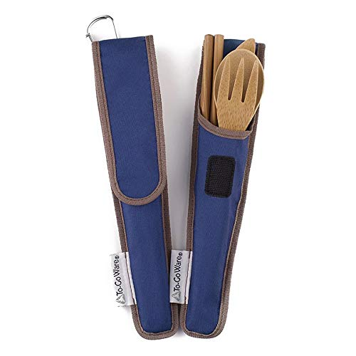 ChicoBag ToGoWare RePEaT Utensil Set Reusable Bamboo Flatware Indigo Blue Pouch