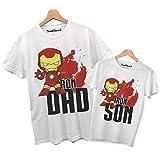 Photo de thedifferent T-shirt pour couple homme avec inscription « Iron Dad Iron Son fête anniversaire idée cadeau » - Blanc - homme L-efants 9-11 ans