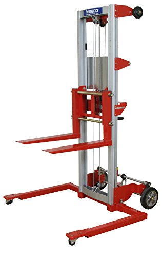 Wesco Industrial Products 273514 Aluminum/Steel Hand Winch Lifter with Adjustable Straddle Base, 500-lb. Capacity, 29