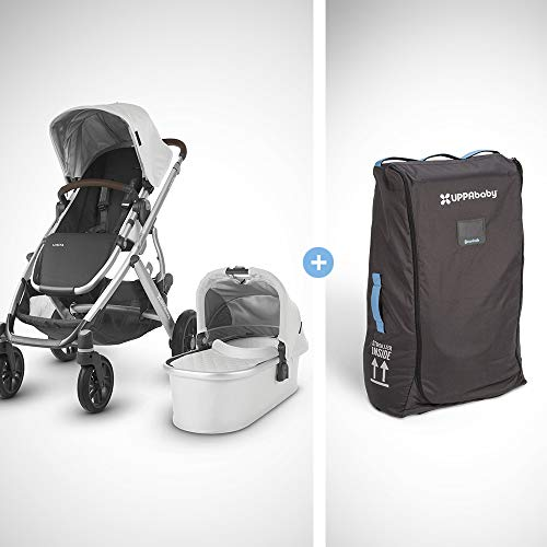 Cheap UPPAbaby Vista + Travel Bag - Bryce (White Marl/Silver/Chestnut Leather)