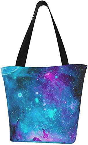 Canvas Tote Bags for Women with Zip,Blue Purple and Pink Galaxy Handbags Shoulder,Big Capacity Shopping Bag,College Bookbag for Girls,Printed Travel Beach Hobo Bags for Ladies