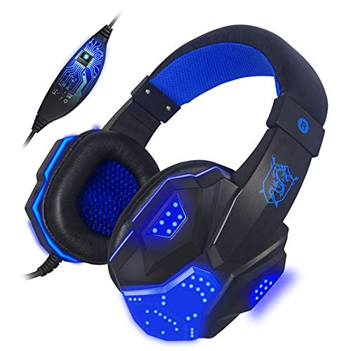 AN Game Earbud Earphone (Subwoofer Stereo Bass Headset) Kopfhörer Mit Mic Light USB Für PC Gamer Fone De Ouvido,Blau