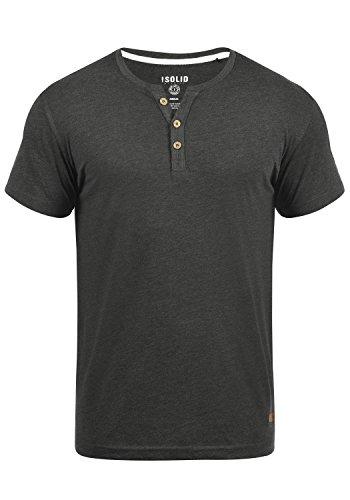 !Solid Volker Herren T-Shirt Kurzarm Shirt Mit Grandad-Ausschnitt, Größe:L, Farbe:Dark Grey Melange (8288)