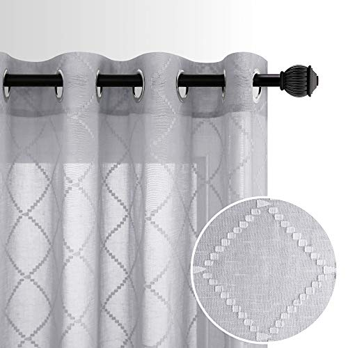 Grey Living Room Curtains 84 Inch Length 2 Panel Sets Semi Sheer Grommet Privacy Luxurious Elegant Pattern Curtains for Bedroom 52x84 Long Light Gray