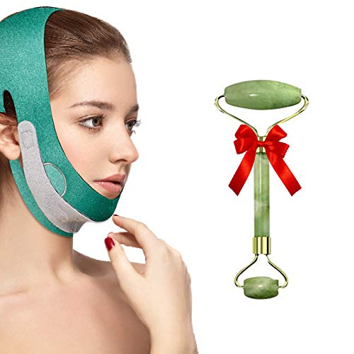 Reusable Face Slimming Strap, Double Chin Reducer,Pain-Free Face Lifting Belt For Anti Wrinkle,Eliminates Sagging, Anti Aging, Breathable Updated Graphene V Line Face Shaped For Men and Woman-Green