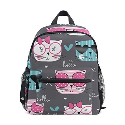 MONTOJ Hello Cat Sac d'école pour garçons Pliable d'école Sac à Dos