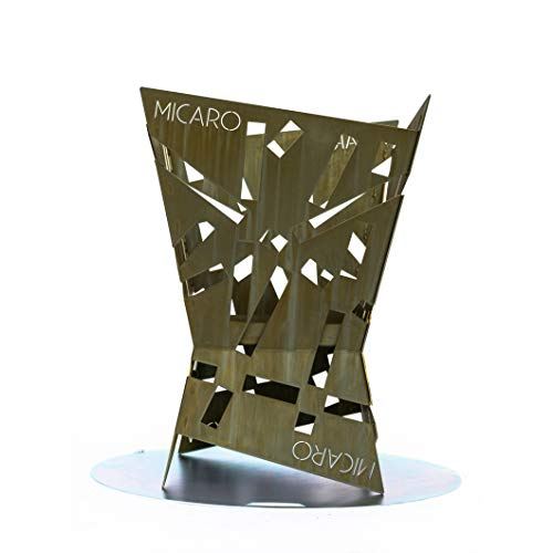 Micaro beautiful design fire basket, optional as a garden grill, luxurious fire pit for the garden, removable ash tray, 50 x 50 x 70 cm.