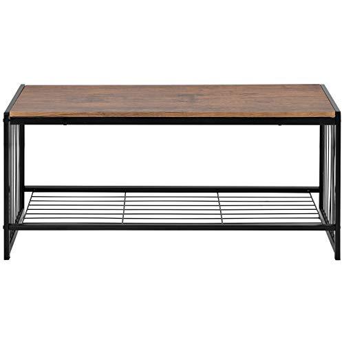 Mesa de café rectangular moderna de esquina, mesa de cóctel de metal y madera, mesa auxiliar de TV, mesa consola con estante de almacenamiento abierto para sala de estar, color marrón