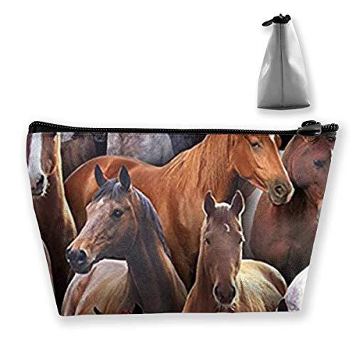 Borsa di immagazzinaggio dell'organizzatore del sacchetto cosmetico della borsa di viaggio dei cavalli neri di vita dell'azienda agricola per bellezza delle donne