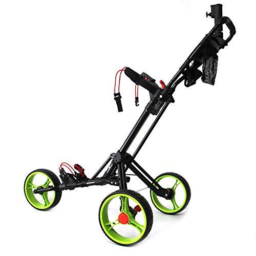 QQLK Golftrolley Faltbar, Unisex, 3 Rad Faltbarer Golf Pull/Push Trolley, Aluminiumlegierung, Golf Pull Cart FüR Golfsport Im Freien,Black Green