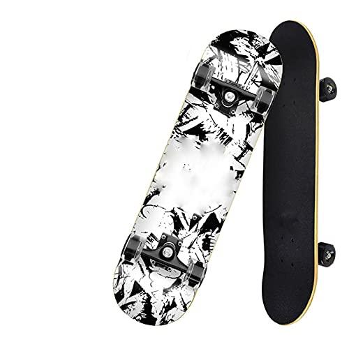 SONG Skateboard for Principiantes Doble Alice Profesional Luminoso Plancha Corta Patinaje de...