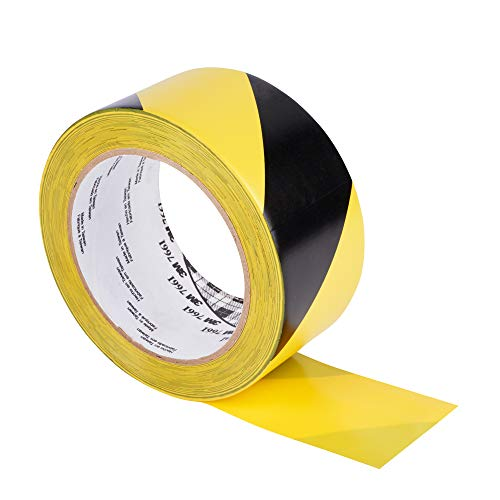 "3M Striped Hazard Warning Tape 766 - High Visibility Vinyl Caution Tape for Floors, Walls and Pipes - 3"" x 36 yards, 5 Mil, 12 Rolls/Case - Black and Yellow"
