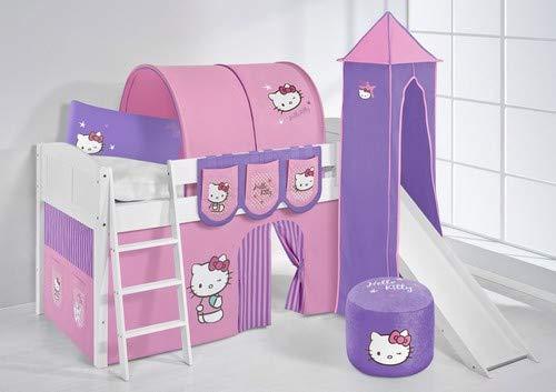 Lilokids Lit surélevé ludique IDA 4106 90x200 cm Hello Kitty Lilas - Lit surélevé évolutif Blanc laqué - avec Tour, Toboggan et Rideaux