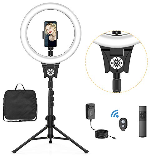 """12"""" Selfie Ring Light with Tripod Stand, Flexible Phone Holder, Bluetooth shutter Remote, Carry Bag for Live Stream/Makeup/YouTube Video/Photography, Compatible with iPhone Xs Max XR Android(Upgraded)"""