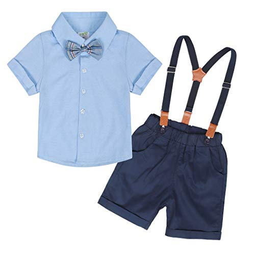 Edjude Traje de Caballero Bebé Niños Conjuntos de Ropa Trajes Formales Camisa de Manga Corta Corbata de MoñoTop + Tirantes Pantalones 4 Piezas 9-12 Meses Azul