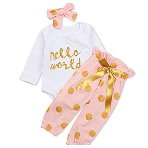 Ropa Bebe Niña Recién Nacido Niña Peleles Monos de Manga Larga + Floral Pantalones + Venda de Pelo