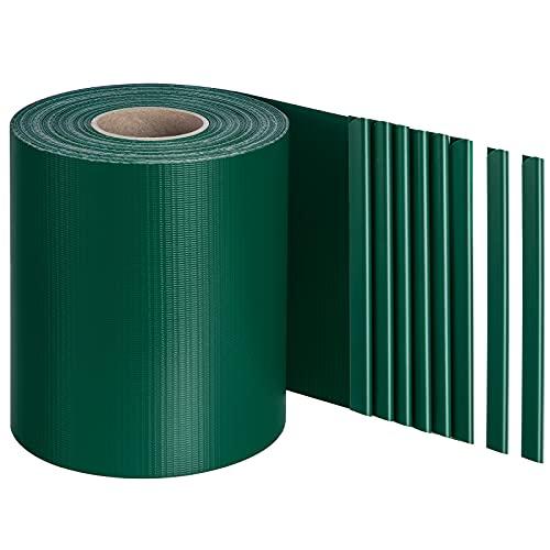 LARMNEE PVC Sichtschutzstreifen für Doppelstabmatten, 40 m x 19 cm, Gartenzaun, Extra dick Rolle Zaunfolie, Sichtschutz, Zaunschutzstreifen, Blickdicht, Winddicht, mit 25 Clips, Grün EGR004JW02