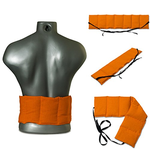 Kirschkernkissen 7-Kammer mit Band, 65x15 orange. Wärmekissen Rücken, Körnerkissen