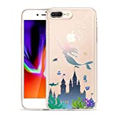 Unov Compatible Case Clear with Design Embossed Pattern TPU Soft Bumper Shock Absorption Slim Protective Cover for iPhone 7 Plus iPhone 8 Plus 5.5 Inch(Mermaid Castle)