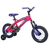 Huffy 22919 Flair Kids Girls 12 Inch Coaster Bike Bicycle with Training Wheels and Front Suspension, Ages 3 to 5, Violet Pink