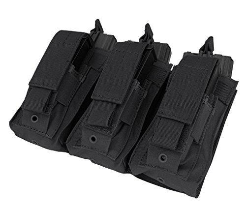 Condor Molle Tactical 3 Triple Pistol Kangaroo Mag Ammo Pouch Bag - Black