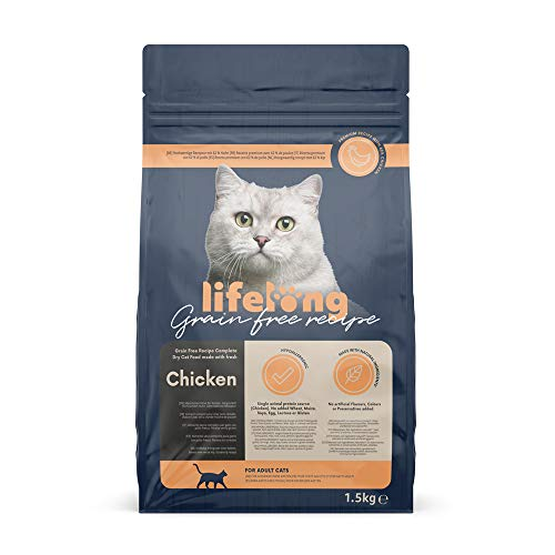 Marchio Amazon - Lifelong - Alimento secco completo per gatti con pollo fresco. Ricetta senza grano - 1,5 kg