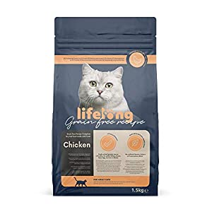 Marca Amazon Lifelong Alimento seco para gatos adultos con pllo fresco, receta sin cereales - 3kg 5