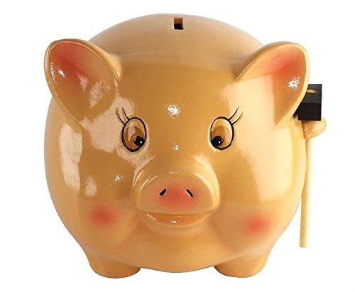 VIPOLIMEX Großes Sparschwein aus Keramik, Spardose mit Hammer in XXL, traditionelles Schwein, Geldschwein, Geldgeschenk für Kinder, Hochzeit, Geburtstag, 12x15 cm