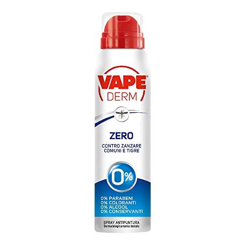 Vape Derm Zero Spray Repellente Zanzare, No Alcool Parabeni Coloranti Conservanti - 100 Gr