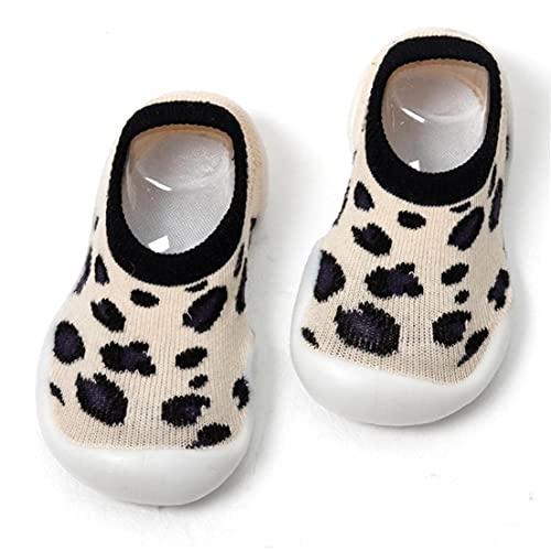 NIDONE bebé de los Deslizadores Calcetines, Leopard Print cómodo Antideslizante Plataforma Soles, Conveniente para el Primer par de Calcetines amarillentos del bebé 6-36M
