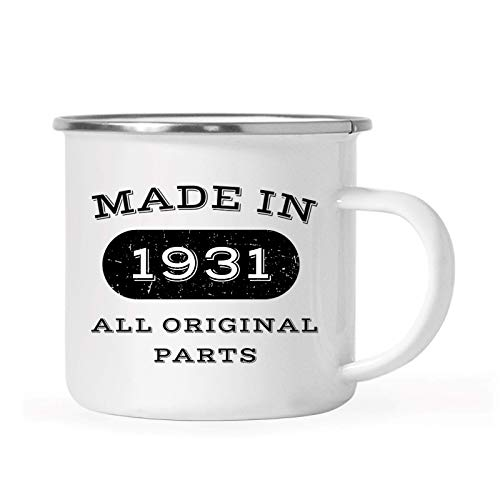 Andaz Press 11oz. Stainless Steel Birthday Campfire Coffee Mug Gift, Made in 1931 All Original Parts, 1-Pack, 88th, 89th, 90th, 91st, Birthday, Anniversary Camping Drinking Cup