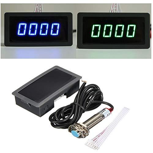 SUNTAOWAN 1/4 2PCS Verde Azul LED tacómetro Digital Metro RPM velocímetro Interruptor de proximidad + Sensor Hall NPN 12V Directa (Color : 2pcs Blue)