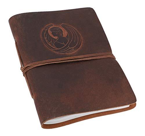 Gusti Notitieboek leer - dagboek reisdagboek Bullet Journal schetsboek ongelinieerd klassiek leer DIN A5 bruin sterrenbeeld Maagd