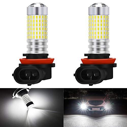 KaTur H8 H9 H11 H16(Japan) Ampoules LED anti-brouillard Max 80W super lumineux 3000 lumens 6500K xenon blanc avec projecteur pour la conduite de feux diurnes DRL ou anti-brouillard (pack de 2)