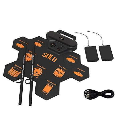 Fanciest 9 Pads Elektronisches Schlagzeug, Aufrollbares und tragbares Schlagzeug-Übungspad mit Kopfhörerbuchse, eingebautem Lautsprecher und Akku, Schlagzeugstock, Anfänger-Übungs-Schlagzeug (Orange)