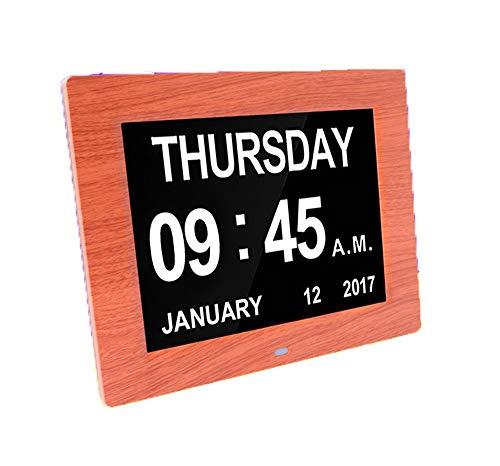 Gaowi 10,5 Zoll Digital Bilderrahmen Holzmaserung Uhr Fotoalbum Mit Uhr & Kalenderfunktion Wecker Geschenk